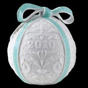 2010 Lladro Porcelain Annual Ball Christmas Ornament Original Blue Finish