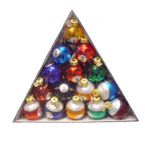 Kurt Adler 40mm Medallion Collection 15 Piece Glass Pool Balls