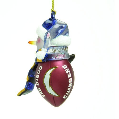 San Diego Chargers Striped Snowman Football Christmas Ornament