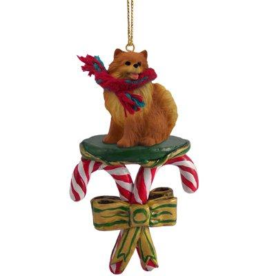 Pomeranian Candy Cane Christmas Ornament
