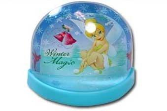 Licensed Disney Mini Lenticular Plastic Snowglobe (Flat Back) (Tinkerbell)