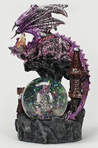 Dragon Figurine Purple With Baby Dragon in Snowglobe and Medieval Design Castle 8″ Tall