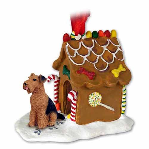 AIREDALE TERRIER Dog GINGERBREAD HOUSE Christmas Ornament 38