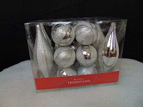 (Ship from USA) Holiday Lane 16 Piece Christmas Tree Ornament Set Silver Glitter Plastic #C23 /ITEM#H3NG UE-EW23D1705