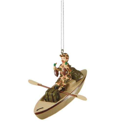 4″ Camouflaged Man Duck Hunter in Boat Christmas Ornament