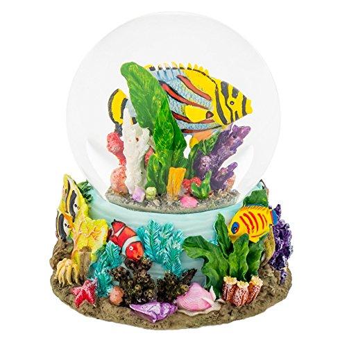 Sandbar Tropical Fish 100MM Water Globe Plays Tune By the Beautiful Sea