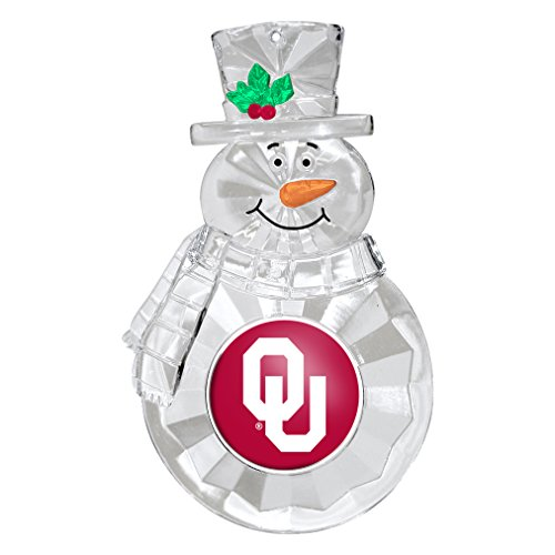 NCAA Oklahoma Sooners Traditional Snowman Ornament Set, Clear, 4.5″