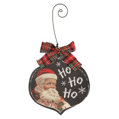 Blossom Bucket Ho Ho Ho Santa Ornament with Ribbon Christmas Decor, 5 by 9″