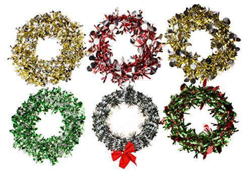 Christmas Holiday Tinsel Wreath Decoration – 9.25″ Wide Set of 4 (Assorted Green/Silver, Gold/Silver, Green/Red Holly Leaves, Green/White Pine, Gold/Silver Rounds, or Red/Silver Rounds)