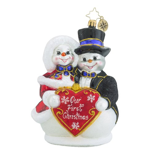 Christopher Radko Snowy Sweethearts Our First Snowman Christmas Ornament