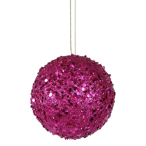 Vickerman Fancy Fuchsia Pink Holographic Glitter Drenched Christmas Ball Ornament, 3″