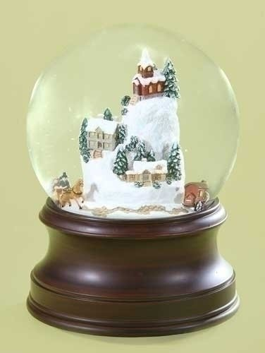 Snowy Woodland Village Musical Christmas Snow Globe Glitterdome – 6.5″ Tall 120MM – Plays Tune Winter Wonderland