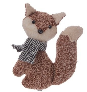 4.5″ Alpine Chic Brown Stuffed Fox with Black and White Scarf Christmas Ornament