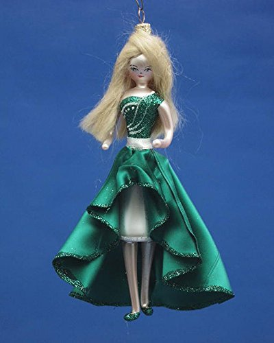 De Carlini Blonde in Green Elegant Dress Italian Mouthblown Glass Christmas Ornament