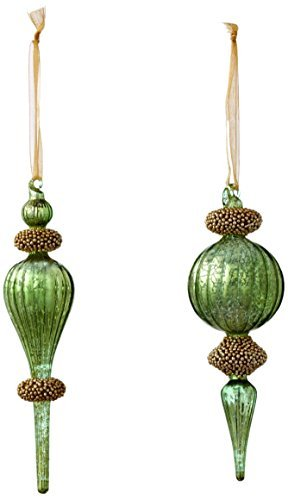 Sage & Co. XAO16767AQ 7.5 Beaded Finial Ornament by Sage & Co.