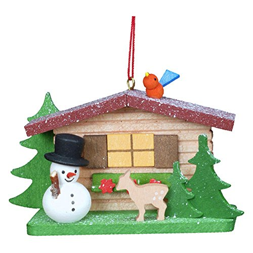 "10-0832 – Christian Ulbricht Ornament – Cottage with Snowman – 2″""H x 3.25″""W x 1″""D"