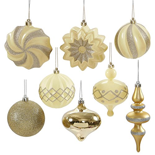 Set of 18 Cream & Champagne Gold Ball, Finial and Onion Shatterproof Christmas Ornaments 3″- 6″
