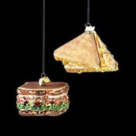 3 Noble Gems Golden Brown Glass Grilled Cheese Sandwich Christmas Ornament WLM