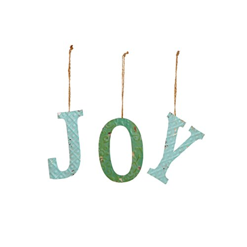 "Sage & Co. XAO19499GR Tin ""Joy"" Ornament with Jute (9 Pack)"