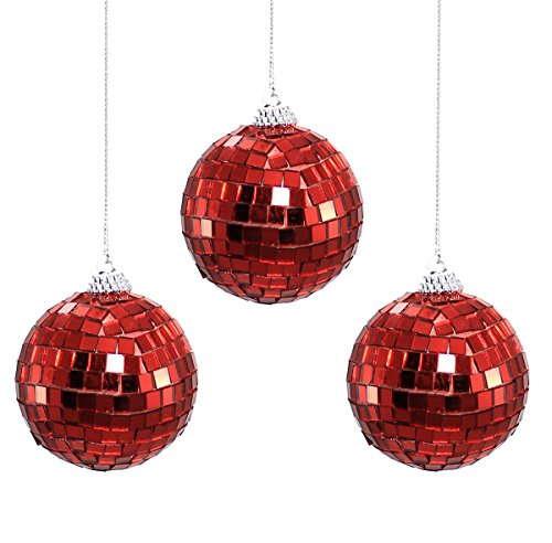 Holiday Lane Round Red Mirrored Disco Ball Christmas Ornaments (Set of 3)