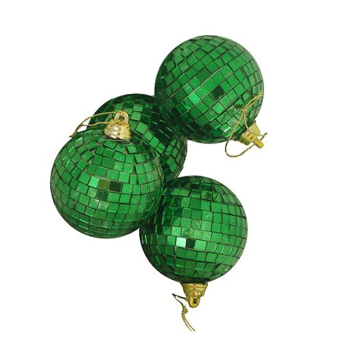 4ct Green Mirrored Glass Disco Ball Christmas Ornaments 4″ (100mm)
