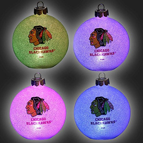 NHL Chicago Blackhawks LED Color Changing Ball Ornament, 2.625″, White