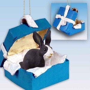 Conversation Concepts Rabbit Black & White Gift Box Blue Ornament