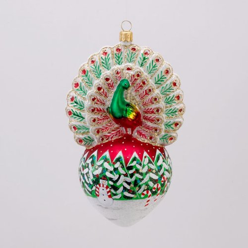David Strand Designs Glass Proud Peacock Snowfall Christmas Ornament 6″