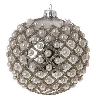 Shiny Silver Pearl Criss-Cross Glass Ball Christmas Ornament 4″ (100mm)
