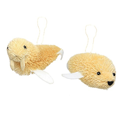 Martha Stewart Bristle Brush Arctic Seal and Walrus Buri Animal Ornaments (Set of 2)