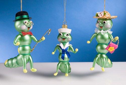 De Carlini Caterpillar Family Set of 3 Italian Christmas Ornaments