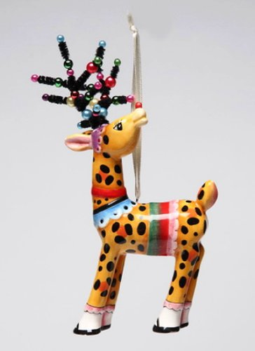 Appletree Design Deer in Leopard Print Ornament, 6-1/8-Inch Tall, Includes String for Hanging