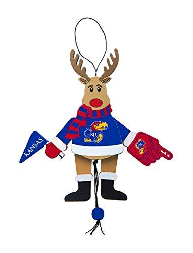 NCAA Kansas Jayhawks Wooden Cheer Ornament, Brown, 5.25″