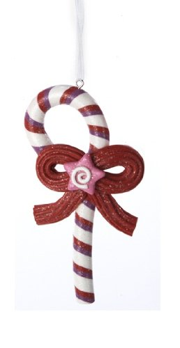4.5″ Sugar Town Candy Cane with Licorice Bow and Pink Star Christmas Ornament