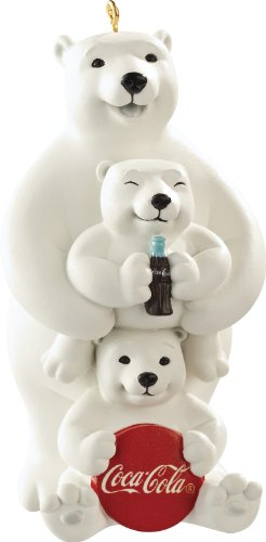 Carlton Heirloom Ornament 2013 Coca Cola Polar Bear Family – Porcelain – #CXOR061D