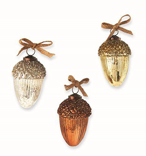 Mud Pie Glitter Acorn Ornaments (3 Asst)