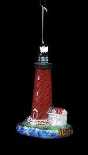 Kurt Adler Noble Gems Glass Lighthouse Ornament #NB0760