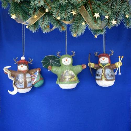Bradford Exchange Deer Snowmen Ornament Set of 3
