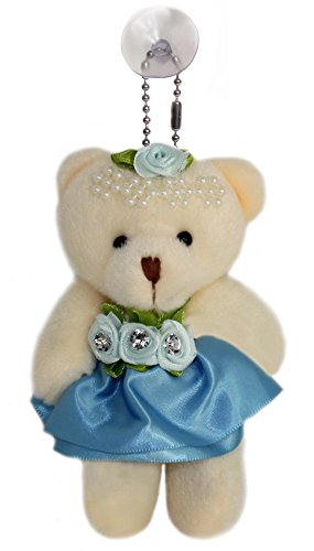 Lucore 4″ Rose & Pearl Tiara Teddy Bear Plush Toy in Satin Dress – Stuffed Animal Keychain Hanging Doll, Lucky Charm & Ornament (Blue)