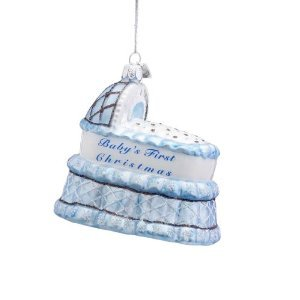 Kurt S. Adler Noble Gems Blue Baby Carriage Baby's Firs't Christmas Ornament – 2011