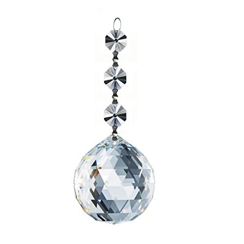 Swarovski Spectra 40mm Clear Faceted Ball crystal & 2 octagon Prisms, Lead Free crystals from Austria, Chandelier Accent, Party Décor with Certificate by CrystalPlace