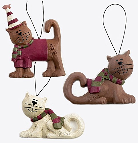 Blossom Bucket Winter Kitten Cats in Warm Striped Scarf Set of Three Resin Ornaments