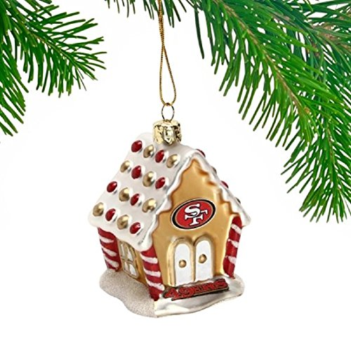 San Francisco 49ers Gingerbread House Glass Christmas Ornament NFL Football