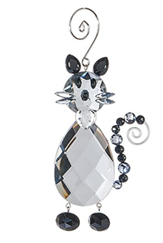 Crystal Expressions Clear and Black Faux Crystal Cat Ornament – By Ganz