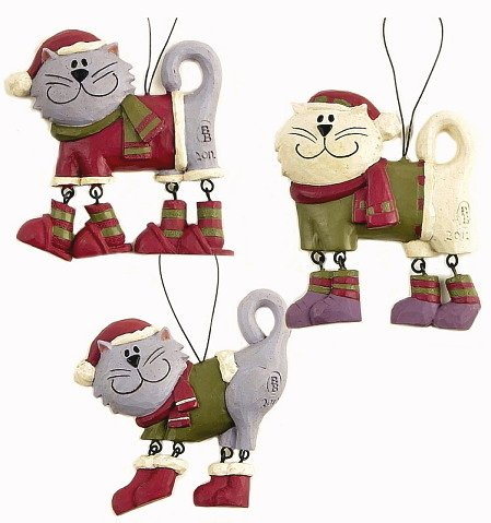 Set of 3 Cats in Sweaters and Boots Ornaments