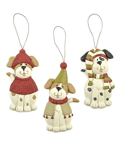 Set of 3 Dogs with Scarves/Hats Ornaments