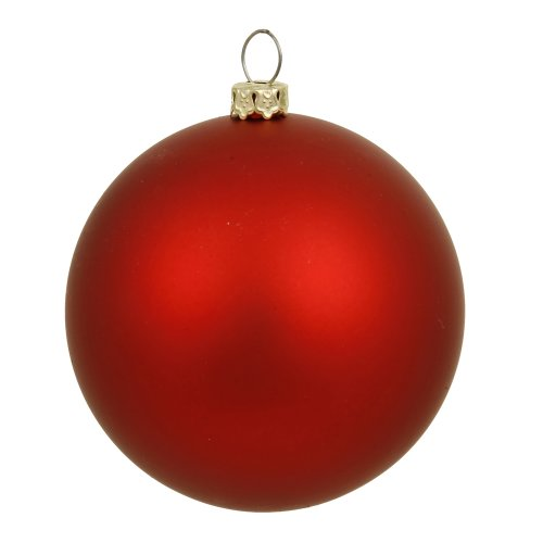 Vickerman Matte Finish Seamless Shatterproof Christmas Ball Ornament, UV Resistant with Drilled Cap, 6 per Bag, 4″, Red