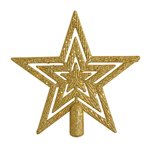 Glittered Gold Star Christmas Tree Topper Holiday Ornament