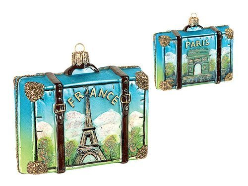 Paris France Travel Suitcase Polish Mouth Blown Glass Christmas Ornament by Pinnacle Peak Trading Company