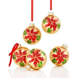 Holiday Lane Set of 5 Gold Glass Ornaments